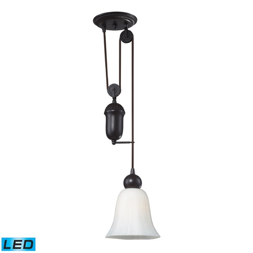 Elk Lighting Elk Lighting Farmhouse Oiled Bronze LED Mini-Pendant Light with Bell Shade 65090-1-LED