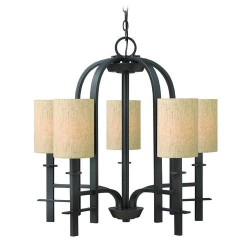 Hinkley Lighting Chandelier with Beige / Cream Shades in Regency Bronze Finish 4545RB