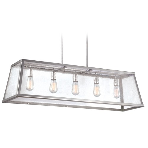 Feiss Lighting Feiss Lighting Harrow Polished Nickel Island Light with Rectangle Shade F3073/5PN