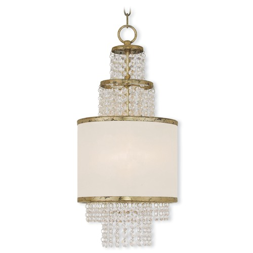 Livex Lighting Livex Lighting Prescott Hand Applied Winter Gold Pendant Light with Drum Shade 50780-28