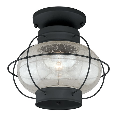 Vaxcel Lighting Seeded Glass Outdoor Ceiling Light Black Vaxcel Lighting T0144
