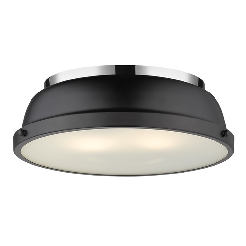 Golden Lighting Golden Lighting Duncan Matte Black Flushmount Light with Chrome Accent 3602-14CH-BLK