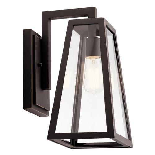 Kichler Lighting Delison Medium Rubbed Bronze Outdoor Wall Light with Clear Tempered Glass 49331RZ
