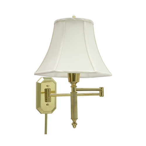 House of Troy Lighting Swing Arm Lamp with White Shade in Polished Brass Finish WS-706