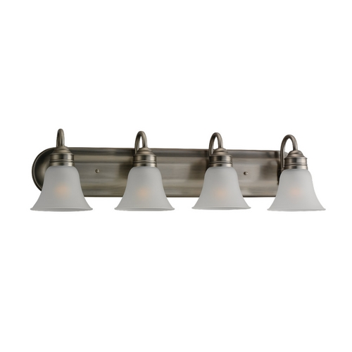 Sea Gull Lighting Bathroom Light with White Glass in Antique Brushed Nickel Finish 49853BLE-965