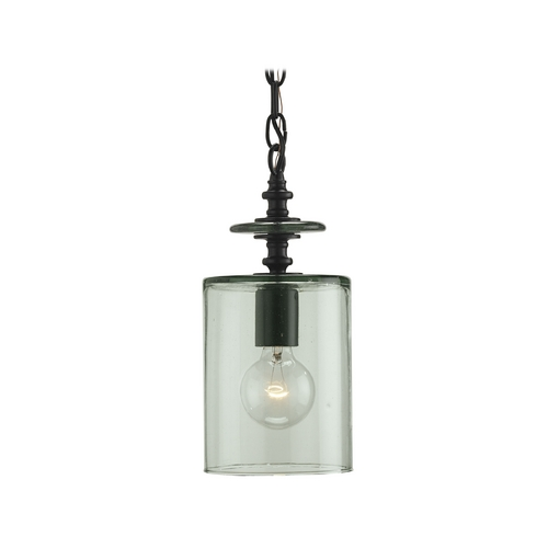 Currey and Company Lighting Vintage Style Mini-Pendant Light with Recycled Hand Blown Glass Shade 9060