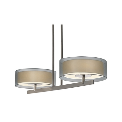 Sonneman Lighting Modern Drum Island Light with Silver Shades in Satin Nickel Finish 6000.13
