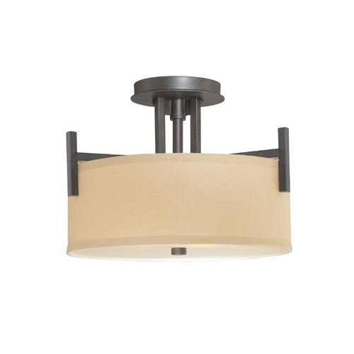 Semi Flush Light With Beige Drum Shade 2945 34 Destination Lighting