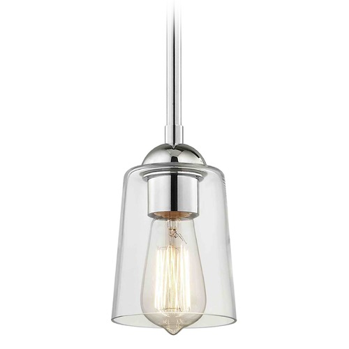 Design Classics Lighting Design Classics Gala Fuse Chrome Mini-Pendant Light with Cylindrical Shade 581-26 GL1027-CLR