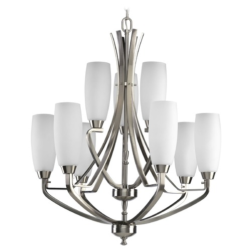 Progress Lighting Progress Chandelier with White Glass in Brushed Nickel Finish P4439-09
