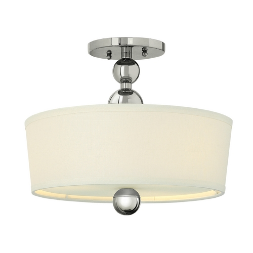 Hinkley Lighting Retro Drum Ceiling Light with White Shade in Polished Nickel Finish 3441PN
