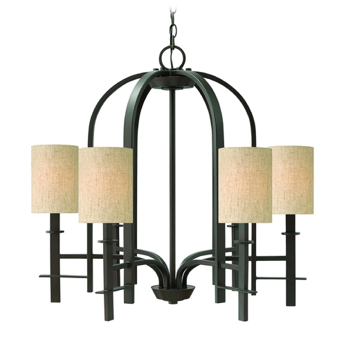 Hinkley Lighting Chandelier with Beige / Cream Shades in Regency Bronze Finish 4546RB