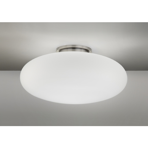 Holtkoetter Lighting Holtkoetter Modern Semi-Flushmount Light with White Glass in Satin Nickel Finish 5402 SN 16SW