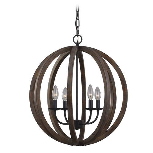 Feiss Lighting Feiss Lighting Allier Weather Oak Wood / Antique Forged Iron Pendant Light F2935/4WOW/AF