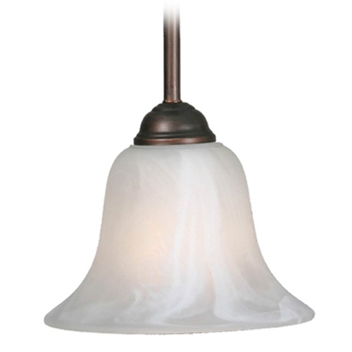 Golden Lighting Golden Lighting Rubbed Bronze Mini-Pendant Light with Bell Shade 4120 RBZ-MBL