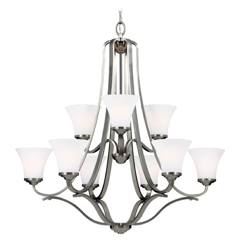 Feiss Lighting Feiss Lighting Hamlet Satin Nickel Chandelier F3066/9SN