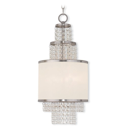 Livex Lighting Livex Lighting Prescott Brushed Nickel Pendant Light with Drum Shade 50780-91