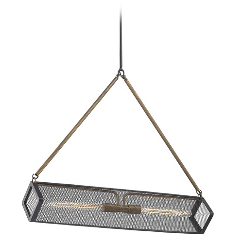 Elk Lighting Elk Lighting Donovan Wrought Iron Black, Antique Gold Pendant Light with Rectangle Shade 14320/2