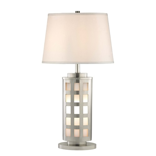 Design Trends Lighting Satin Nickel Table Lamp with White Oval Lamp Shade 27.25-Inch Tall 19001-09