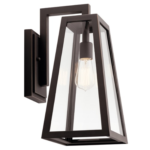 Kichler Lighting Delison Large Rubbed Bronze Outdoor Wall Light with Clear Tempered Glass 49332RZ