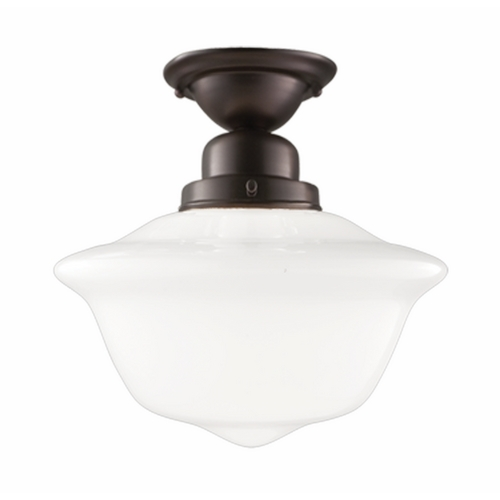 Hudson Valley Lighting Semi-Flushmount Light with White Glass in Old Bronze Finish 1612F-OB