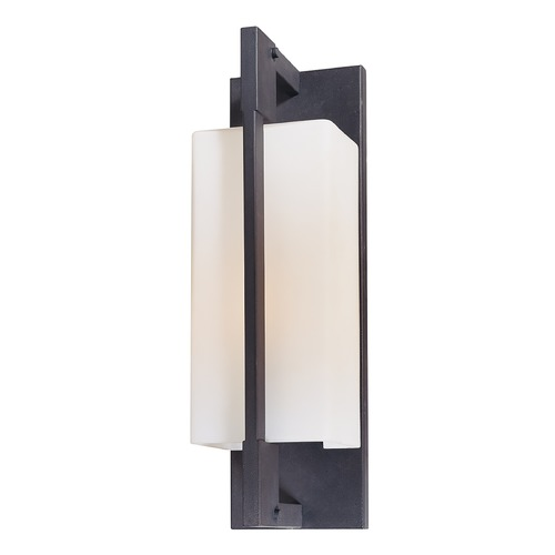Troy Lighting Modern Outdoor Wall Light with White Glass in Forged Iron Finish B4016FI