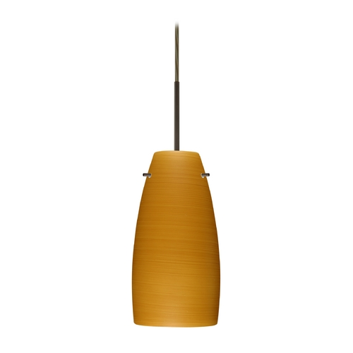 Besa Lighting Modern Pendant Light with Brown Glass in Bronze Finish 1JT-1512OK-BR