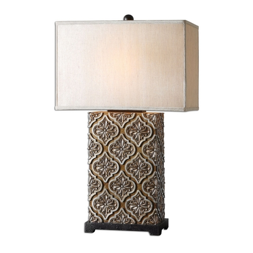 Uttermost Lighting Table Lamp with Beige / Cream Shade in Golden Bronze Finish 26829-1