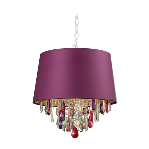 Sterling Lighting Drum Pendant Light with Purple Shade 122-007