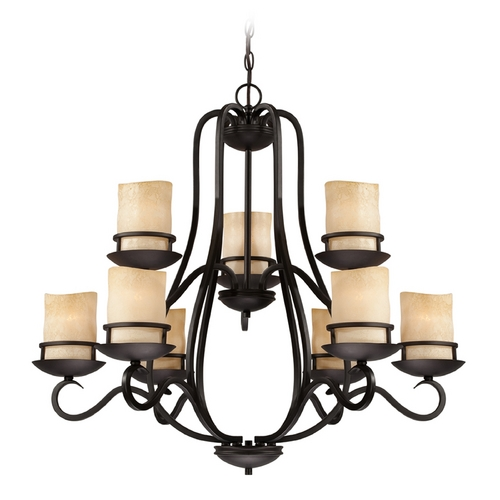 Designers Fountain Lighting Chandelier with Amber Glass in Natural Iron Finish 84789-NI