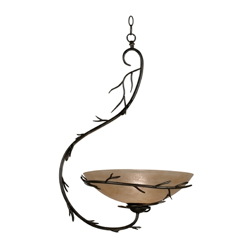 Kenroy Home Lighting Pendant Light with Amber Glass in Bronze Finish 90902BRZ