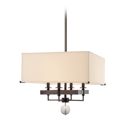Hudson Valley Lighting Modern Pendant Light with White Shades in Old Bronze Finish 5645-OB