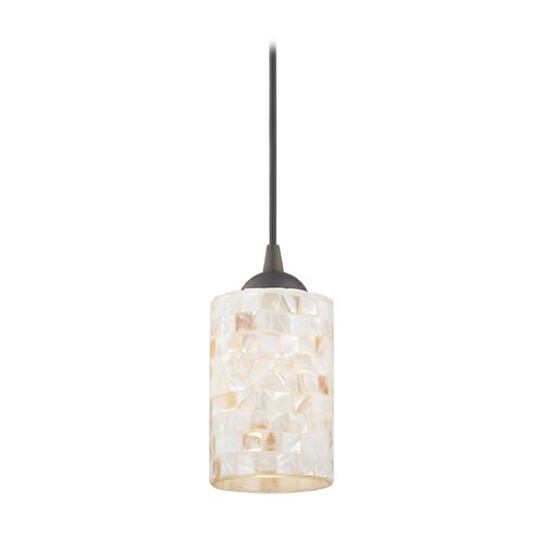 Design Classics Lighting Mosaic Mini-Pendant Light with Cylinder Glass in Bronze Finish 582-220 GL1026C