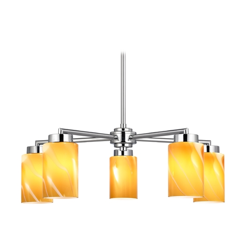 Design Classics Lighting Modern Chandelier with Butterscotch Art Glass in Polished Chrome Finish 590-26 GL1022C