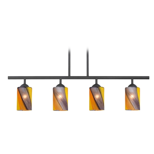Design Classics Lighting Modern Island Light with Multi-Color Glass in Matte Black Finish 718-07 GL1015C