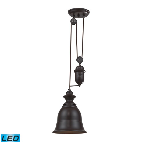 Elk Lighting Elk Lighting Farmhouse Oiled Bronze LED Mini-Pendant Light with Bell Shade 65070-1-LED