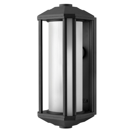 Hinkley Outdoor Wall Light with White Glass in Black Finish 1395BK