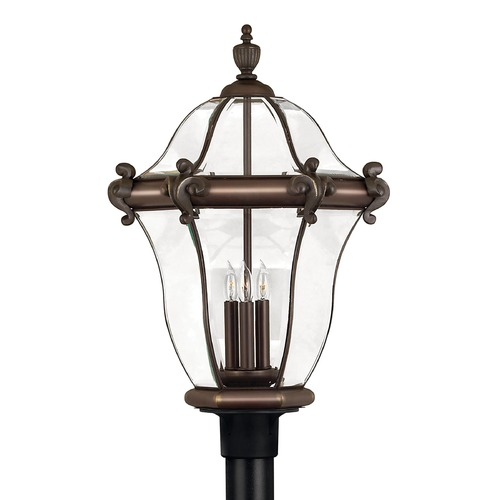Hinkley Post Light with Clear Glass in Copper Bronze Finish 2447CB