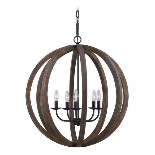 Feiss Lighting Feiss Lighting Allier Weather Oak Wood / Antique Forged Iron Pendant Light F2936/5WOW/AF