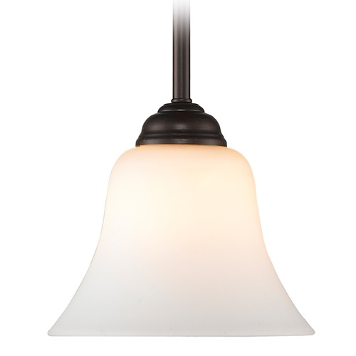 Golden Lighting Golden Lighting Rubbed Bronze Mini-Pendant Light with Bell Shade 4120 RBZ-OP