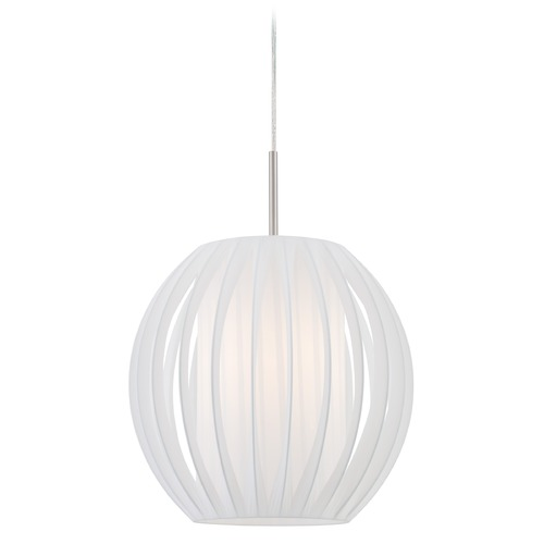 Lite Source Lighting Lite Source Deion Polished Steel Pendant Light with Cylindrical Shade LS-18870PS/WHT