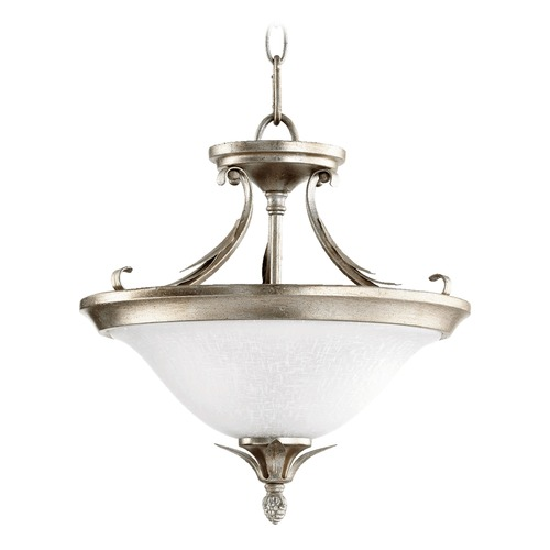 Quorum Lighting Quorum Lighting Flora Aged Silver Leaf Pendant Light with Bowl / Dome Shade 2972-13-60