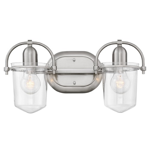 Hinkley Hinkley Clancy 2-Light Brushed Nickel Bathroom Light with Clear Glass 5442BN-CL