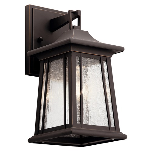 Kichler Lighting Taden Small Rubbed Bronze Outdoor Wall Light with Clear Seeded Glass 49908RZ