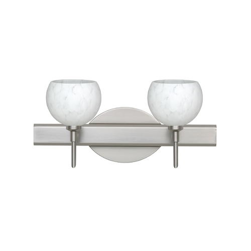 Besa Lighting Modern Bathroom Light with White Glass in Satin Nickel Finish 2SW-565819-SN