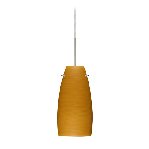 Besa Lighting Modern Pendant Light with Brown Glass in Satin Nickel Finish 1JT-1512OK-SN