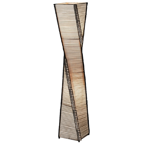 Adesso Home Lighting Modern Floor Lamp with Beige / Cream Paper Shades in Black Finish 4046-01