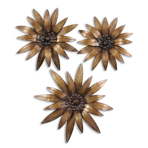 Uttermost Lighting Burnished Brass Floral Wall Art Decorations - Set of Three 13479