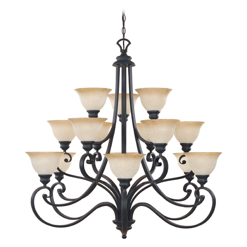 Designers Fountain Lighting Chandelier with Beige / Cream Glass in Natural Iron Finish 961815-NI