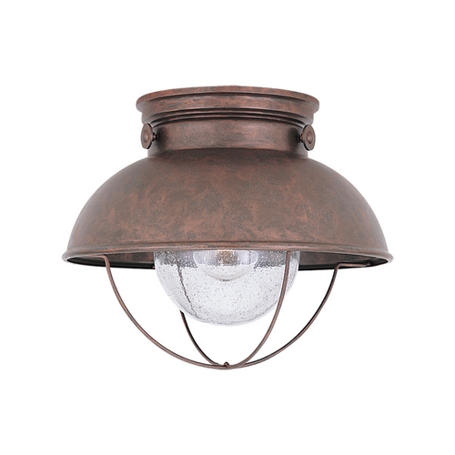 Sea Gull Lighting Close To Ceiling Light with Clear Glass in Weathered Copper Finish 8869-44